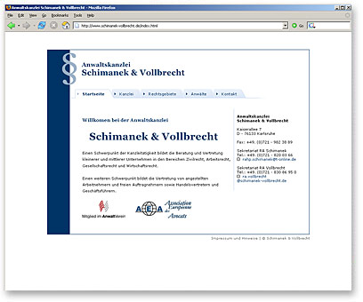 Screenshot www.schimanek-vollbrecht.de